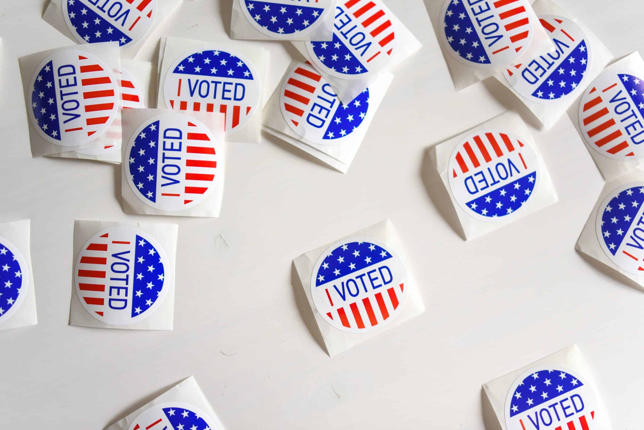 flay lay of i voted stickers