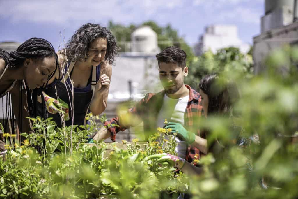 Group of young people learning urban gardening from a mid adult gardening teacher.