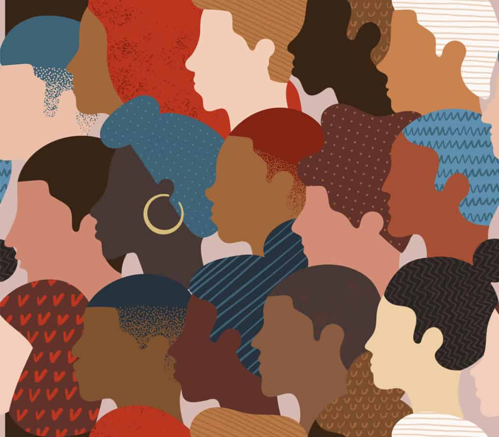 Seamless pattern of many different people profile heads